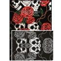 DOUBLE FACE Tubolare scaldacollo Skull ROSE & SKULL ROSSO / BN