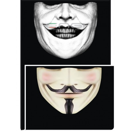 DOUBLE FACE Tubolare scaldacollo Face Man JOKER NICHOLSON 1 + V-VENDETTA